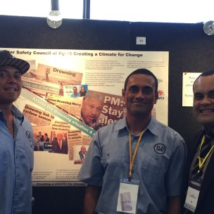 from left : Godfrey Eaton, JP (John Philp), and Dr James Kalougivaki - Fiji Police Force Head Pathologist