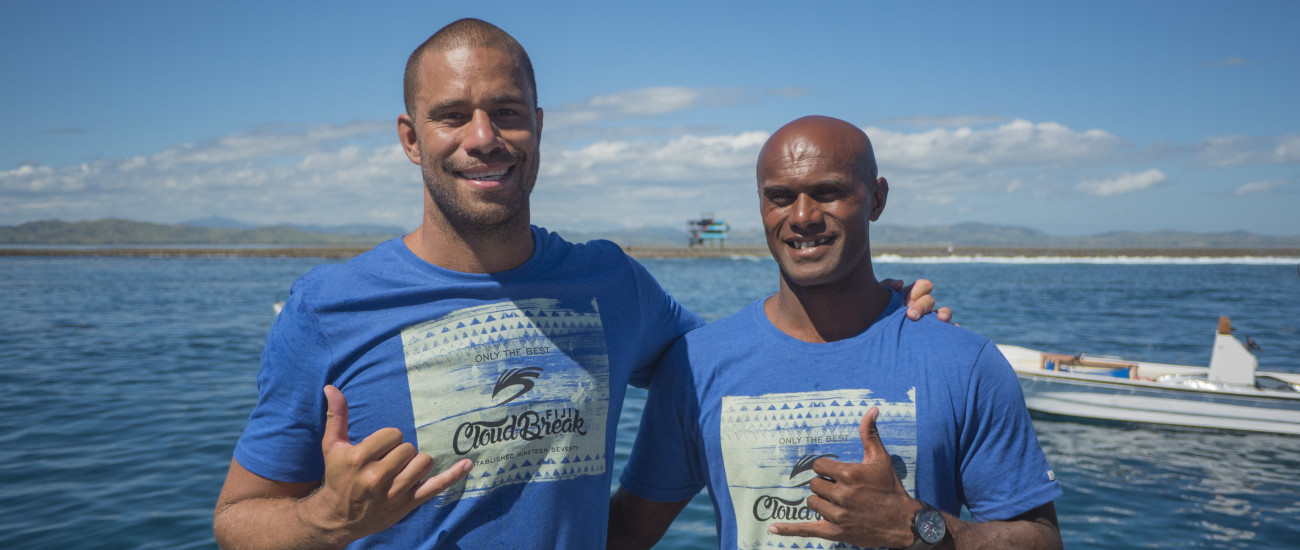Trials winner - Tevita Gukilau on the left with 2nd placed surfer - Inia Nakalevu at the prize giving