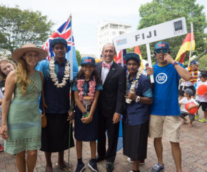 Fiji Team Apisai Tibinaliva, Keisha Wakeham, and Kalani Wakeham with with ISA President Fernando Aguerre and his wife Florencia. At far right is Team translator and Japan guide - Isao Ishihara.